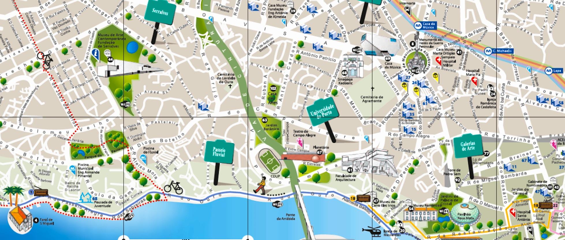 Cartina Metropolitana Di Parigi Da Stampare.Mappe Di Porto Da Stampare Attrazioni Metro Tram E Bus